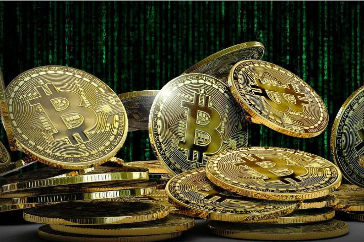 Bitcoins i en bunke